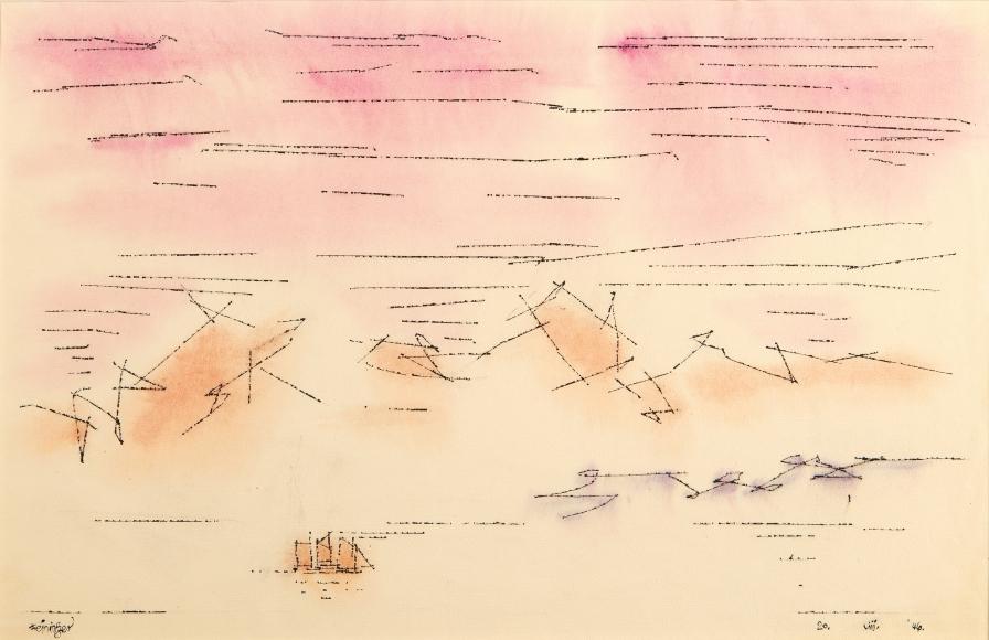 Lyonel Feininger (1871-1956), Sky Script, 1946, Watercolor and ink on paper, 12 1/2 x 18 7/8 in. (31.8 x 47.9 cm), Signed lower left: Feininger, Dated lower right: 20. VIII. '46., Titled lower center: Sky Script