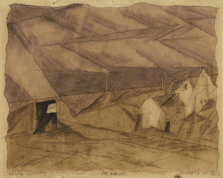 Lyonel Feininger (1871-1956), Am Bahndamm (On the train track), 1916, Pen, ink, and watercolor on paper, 9 3/4 x 12 1/2 in. (24.8 x 31.8 cm), Signed lower left: Feininger, Titled lower center: Am Bahndamm, Dated lower right: Dienstag D. 26 Sept. 1916