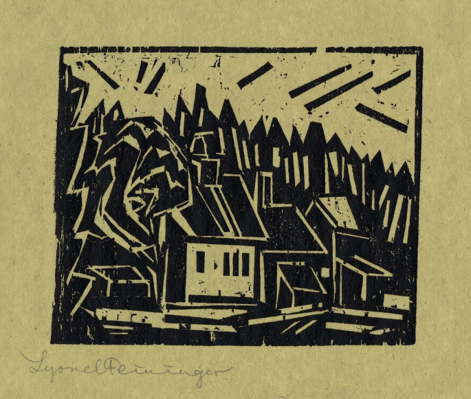 Lyonel Feininger (1871-1956), The Hunter's Lodge (Die Forsterei), 1918, Woodcut on light-green carbon-copy paper, 4 3/8 x 5 1/2 in. (11.1 x 14 cm), Signed lower left: Lyonel Feininger, Inscribed lower left: x, Numbered lower center: 1827, Inscribed lower right verso: inv. nr. 439