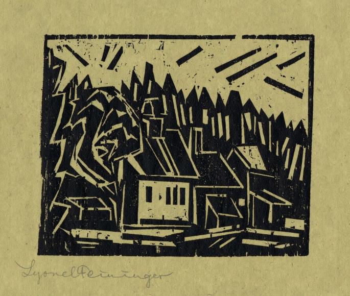 Lyonel Feininger (1871-1956), The Hunter's Lodge (Die Forsterei), 1918, Woodcut on light-green carbon-copy paper, 4 3/8 x 5 1/2 in. (11.1 x 14 cm), Signed lower left: Lyonel Feininger, Inscribed lower left: x, Numbered lower center: 1827, Inscribed lower right verso: inv. nr. 439