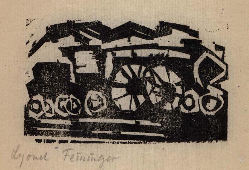 Little Locomotive woodcut by Lyonel Feininger