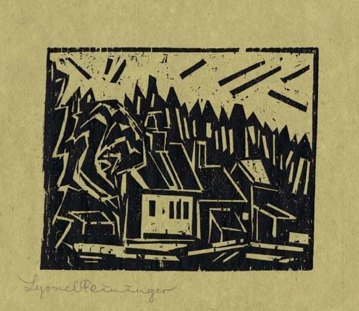 The Hunter's Lodge woodcut by Lyonel Feininger