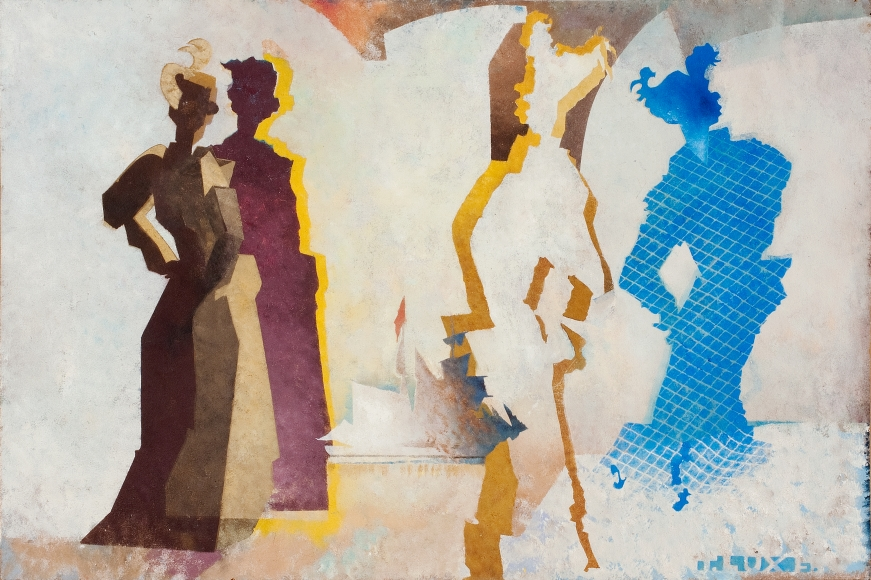 T. Lux Feininger (1910-2011), The Song the Syrens Sang, 1986, Oil on board, 17 5/16 x 25 7/8 in. (44 x 65.7 cm), Signed lower right: T.Lux F., Signed, dated, titled on verso: T. Lux F. 1986 The Song the Syrens Sang 1986