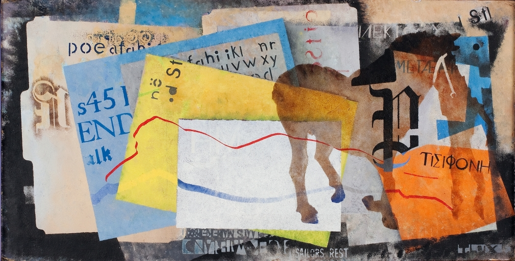 T. Lux Feininger (1910-2011), Studio Scraps I, 1988, Oil on board, 14 1/8 x 27 5/8 in. (35.9 x 70.2 cm), Signed and dated lower right: T. Lux F., Signed, dated and titled on verso: 25th anniversary in this house MAY 23 1988 FIN OCT 94 / 'Studio Scraps I'
