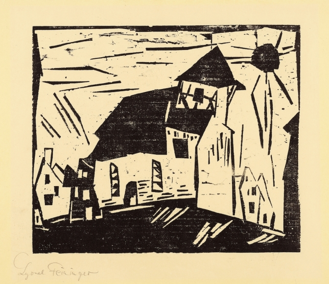 Lyonel Feininger (1871-1956), (Vollersroda), 1919, Woodcut on yellow Kozo paper, Image: 10 x 11 7/8 in. (25.4 x 30.2 cm), Sheet: 14 3/16 x 19 5/8 in. (36 x 49.9 cm), Signed lower left: Lyonel Feininger, Inscribed lower left: ♀ (inverted) Probedruck auf gelb unverkäuflich, Stock zerstört, Estate stamp lower right: G W No. 334