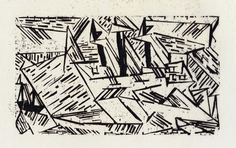 """""""Ships in a Storm"""" woodcut by Lyonel Feininger"""