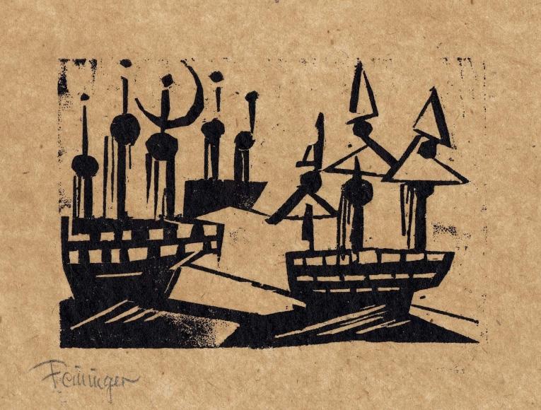 """Ships and New Moon"" woodcut by Lyonel Feininger"