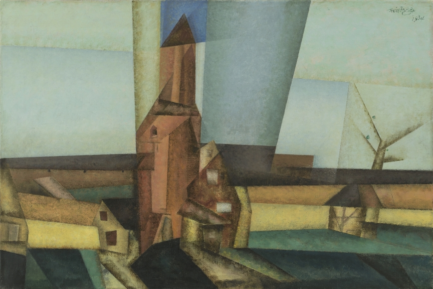 """Lyonel Feininger, Der Pulverturm II (The Powder Tower II), 1934, Oil on canvas, 19 7/16 x 28 3/8 in. (49.4 x 72.1 cm), Signed and dated upper right: Feininger 1934, Inscribed and dated verso on stretcher: Lyonel Feininger 1934, Inscribed, dated and titled verso on label on stretcher: Lyonel Feininger 1934 """"The Powder Tower"""""""