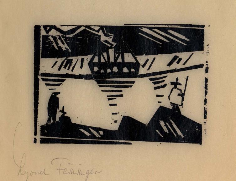 Angler and Steamer woodcut by Lyonel Feininger