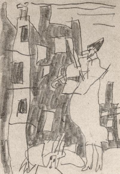 Fiddler before Houses by Lyonel Feininger