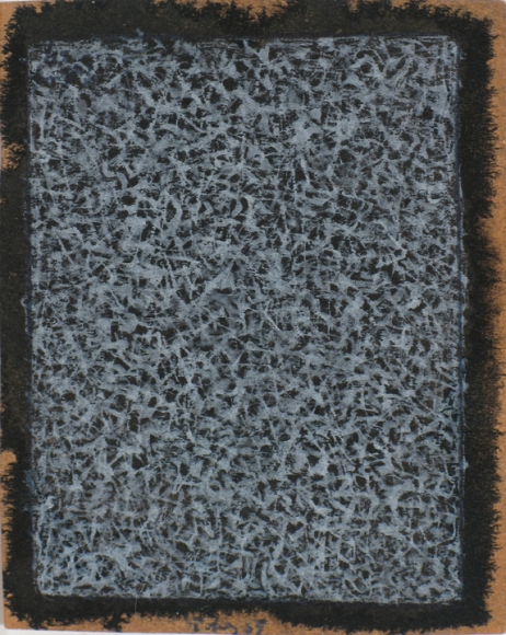 Mark Tobey, Untitled (A Little Piece of Magic or Nothing), 1959, Tempera on prepared paper, 3 ¼ x 2 ½ in. (8.3 x 6.4 cm,) Signed and dated lower center: Tobey 59, Inscribed on verso by the artist: Happy Birthday 1959 A little piece of magic or nothing