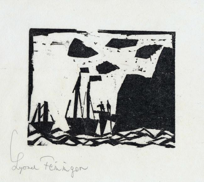 Ships along a Rocky Coast woodcut by Lyonel Feininger