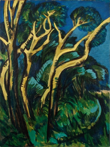 Ernst Ludwig Kirchner, Gelbe Birken (Yellow Birches), 1914, Oil on canvas, 47 ¼ x 35 ¼ in. (120.7 x 89.5 cm), Verso: Bathers in Fehmarn Landscape, Estate stamp on verso: Be/Aa9