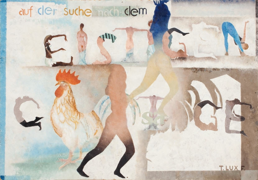 T. Lux Feininger (1910-2011), Composition Auf dem Suche nach dem Geistigen (Searching the Spiritual), 1983, Oil on board, 14 x 19 3/4 in. (35.6 x 50.2 cm), Signed lower right: T. LUX F., Signed and dated on verso: T. LUX F. 1983