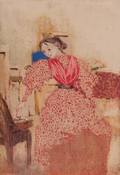 Édouard Vuillard (1868-1940), Demoiselle en rouge (Young woman in red), 1893, Oil on canvas, 14 x 9 7/16 in. (35.6 x 24 cm), Signed lower left: E. Vuillard