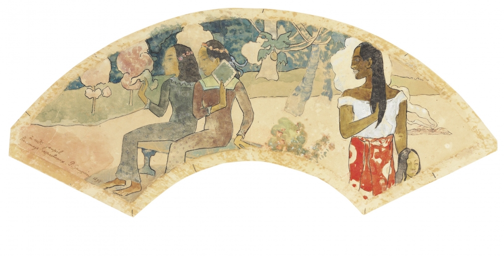 Paul Gauguin, Ta-Matete (The Market), 1892, Fan: watercolor, gouache, pen and ink, and graphite on cream wove paper, 5 ¾ x 18 1/8 in. (14.5 x 46 cm), John C. Whitehead Collection, until 2015
