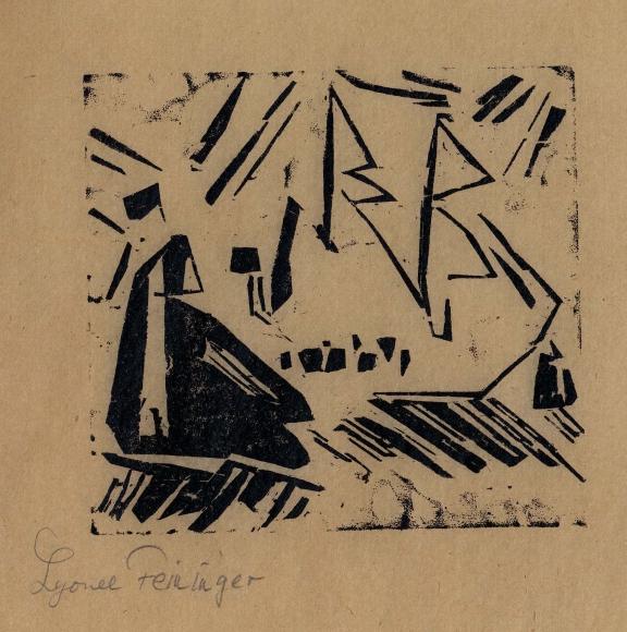 Marine (with three sailboats) woodcut by Lyonel Feininger