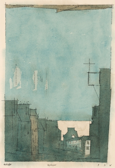 Lyonel Feininger (1871-1956), Quimper, 1931, Watercolor and ink on paper, 18 5/8 x 11 7/8 in. (47.3 x 30.2 cm), Signed lower left: Feininger, Titled lower center: Quimper, Dated lower right: 3 9 31
