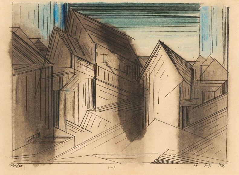 Lyonel Feininger (1871-1956), Dorf, 1923, Watercolor and ink on paper, 11 x 15 in. (27.9 x 38.1 cm), Signed lower left: Feininger, Titled lower center: Dorf, Dated lower right: 24 Sept 1923