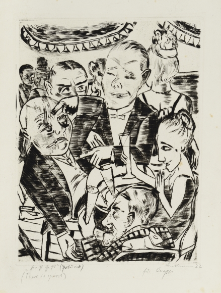 Max Beckmann (1884-1950), Hier ist Geist (Here is Intellect), 1921, Drypoint etching on velin, Image: 13 ¼ x 10 1/16 in. (33.7 x 25.6 cm), Sheet: 20 x 12 5/8 in. (51 x 32 cm), Signed and dated lower right: Beckmann 22, Inscribed lower right: For Quappi, Inscribed lower left: Hier ist Geist (Probedruck) (There is a spirit), Van Gelder Zonen watermark upper right