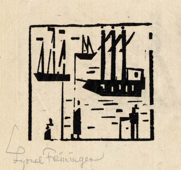 Angler and Ships woodcut by Lyonel Feininger