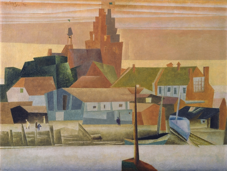 Lyonel Feininger, Kleine Hafenstadt (Small Harbor Town), 1922, Oil on canvas, 15 3/4 x 21 1/4 in. (40 x 54 cm), Signed and dated upper left: Feininger 1922