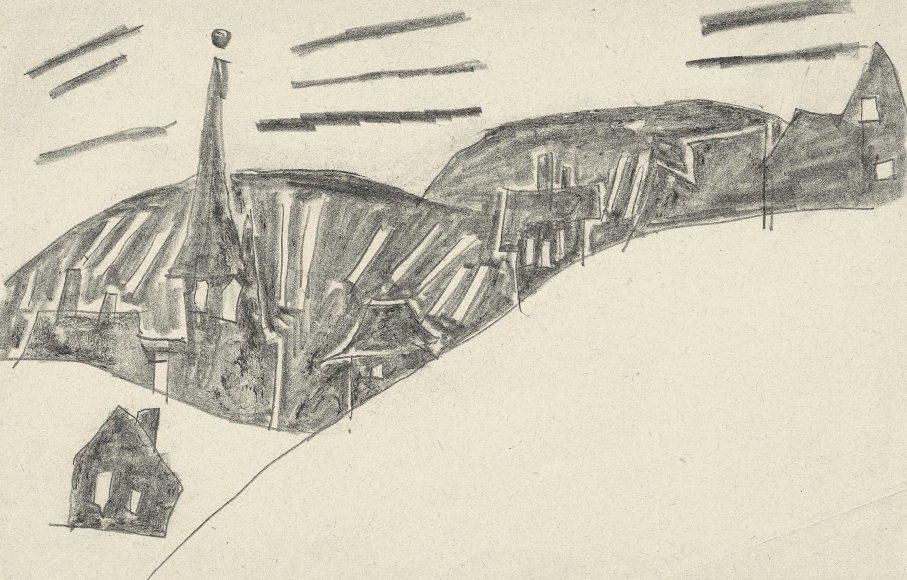 View of Braunlage, Harz Mountains, with St. Trinitatis Church by Lyonel Feininger
