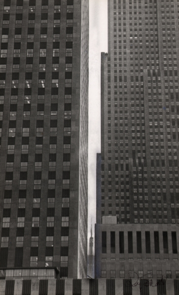 11. Roy Schatt, Portrait of the Empire State Building, 1965. Street-level view peering between two large buildings; the Empire State Building can be seen through a gap between the buildings, very distant and small.