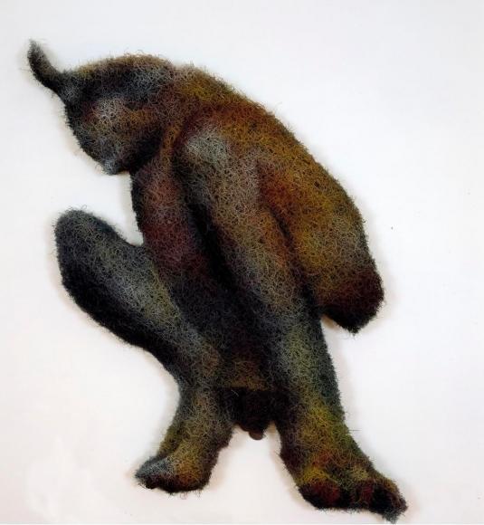 Richard Artschwager (1923-2013)Satyr, 2001 Acrylic, rubberized hair and masonite 57 x 32 x 2 1/2 in. (144.8 x 81.3 x 6.3 cm)