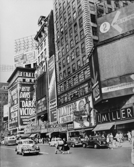 Times Square, New York, 1952 	Gelatin silver print, printed later 	14 x 11 inches