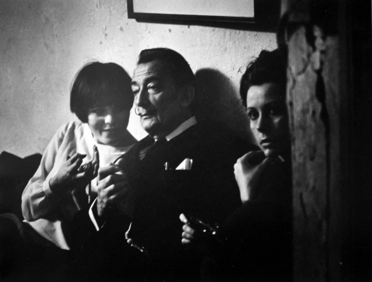 W. Eugene Smith - The Loft From Inside In (Salvador Dali and two young women), c. 1957-68  | Bruce Silverstein Gallery