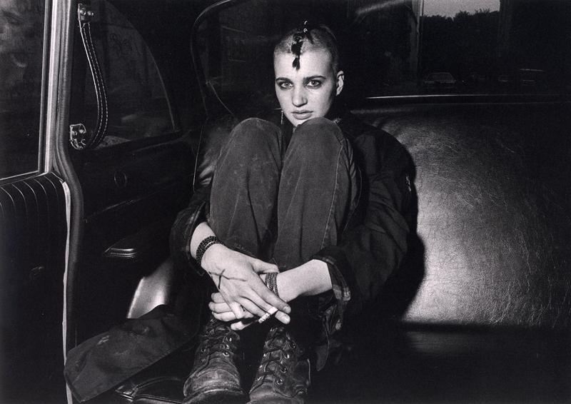 Ryan Weideman - Punk Donna in Boots and Backseat, 1982 Gelatin silver print ; Bruce Silverstein Gallery