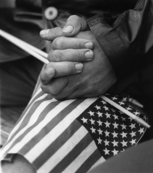 Chester Higgins -  Flag and Hope, New York City, 1990