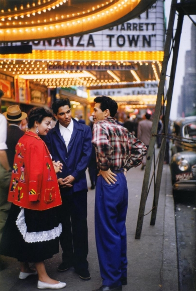 Ruth Orkin -  Three People Under Marquee, NYC,c. 1950 | Bruce Silverstein Gallery