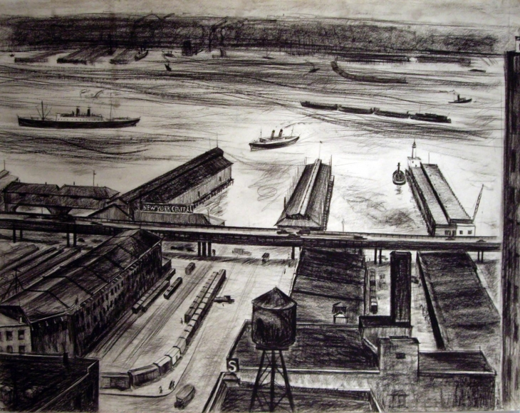 Barbara Morgan - New York Hudson River, 1934 Lithograph on paper | Bruce Silverstein Gallery