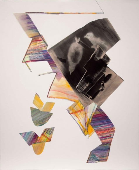 John Wood - Baby Loons and Bomb, 1987 Collage, gelatin silver print, crayon on paper | Bruce Silverstein Gallery