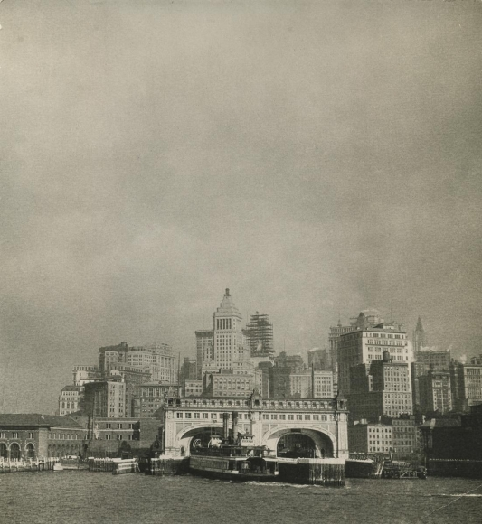 East River, New York City, 1925 	Gelatin silver print, printed c. 1925 	8 1/2 x 8 inches