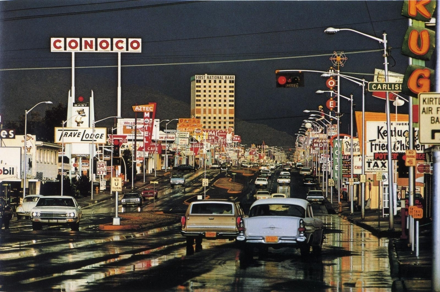 Route 66, Albuquerque, New Mexico, 1969 	Dye transfer, printed c. 1969 	68 x 45 inches
