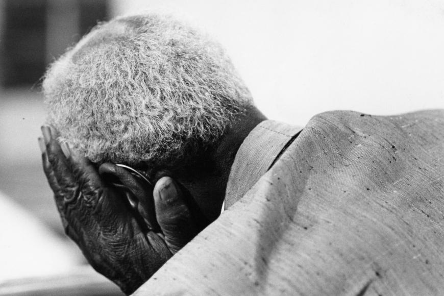 Chester Higgins -  Spencer Jones in prayer at Springfield Baptist Church, New Brockton, Alabama, 1973