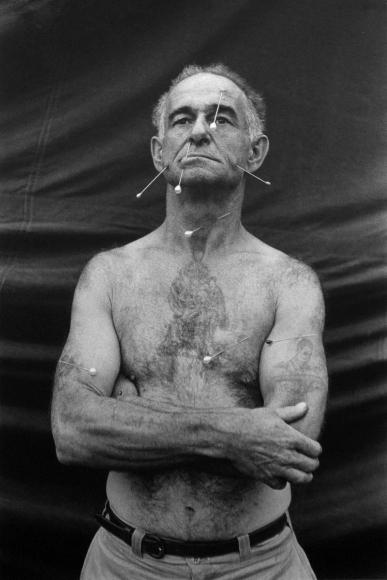 Diane Arbus,The Human Pincushion, Roland C. Harrison, MD, 1962 | Bruce Silverstein Gallery