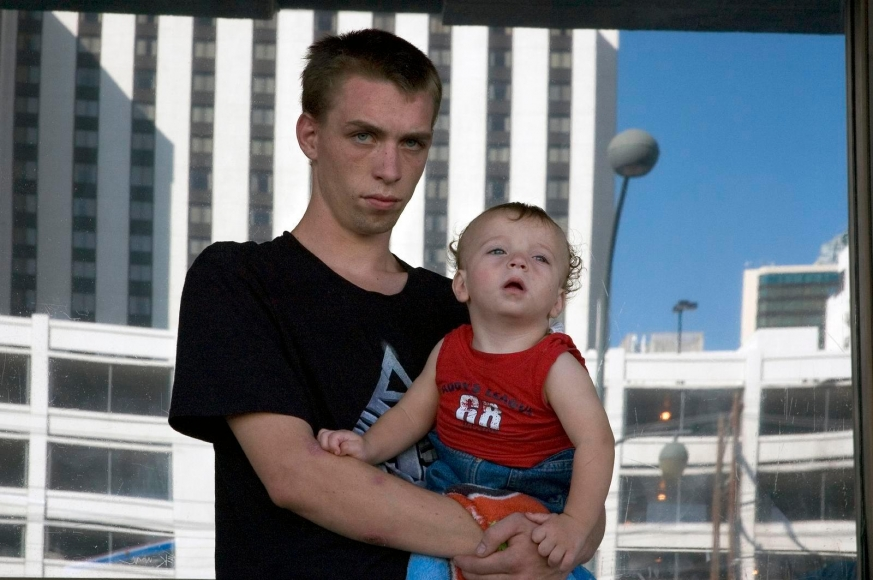 Zoe Strauss - Father and Son in Front of Greyhound Station, 2001-2008  | Bruce Silverstein Gallery