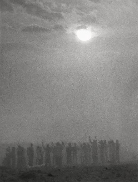 Chester Higgins -  Sunrise prayer on Osu Beach, Accra, Ghana, 1973