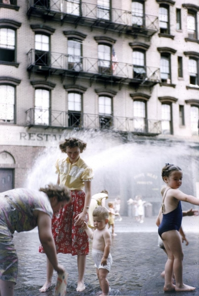 Ruth Orkin -  Mother and Child in Water, NYC,c. 1950  | Bruce Silverstein Gallery