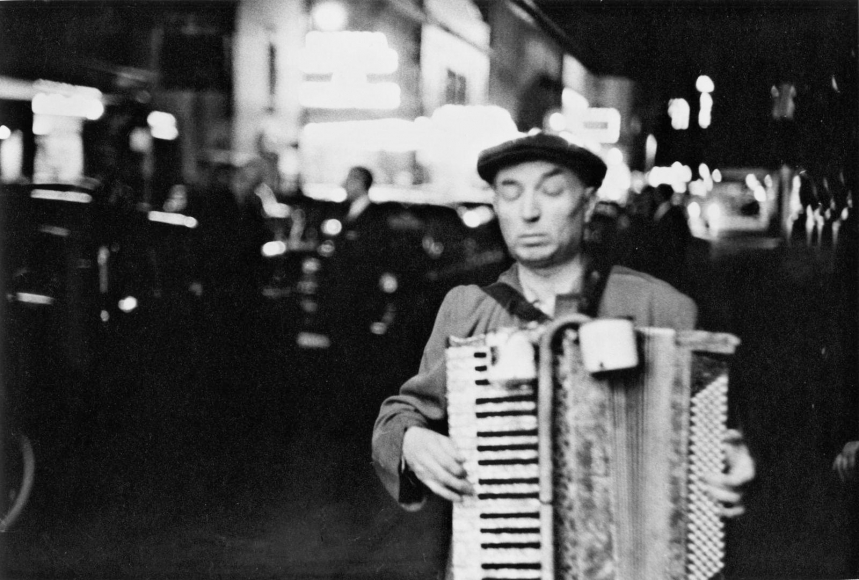 Frank Paulin - Blind Man Playing Accordion, Times Square, New York City, 1954 Gelatin silver print mounted to board, printed c. 1954 | Bruce Silverstein Gallery