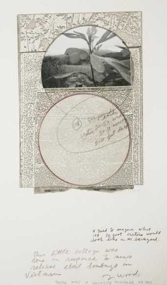 John Wood -500 lb Bomb Crater, c.1960s Gelatin silver print, graphite, Xerox, vellum, ink mounted to board | Bruce Silverstein Gallery