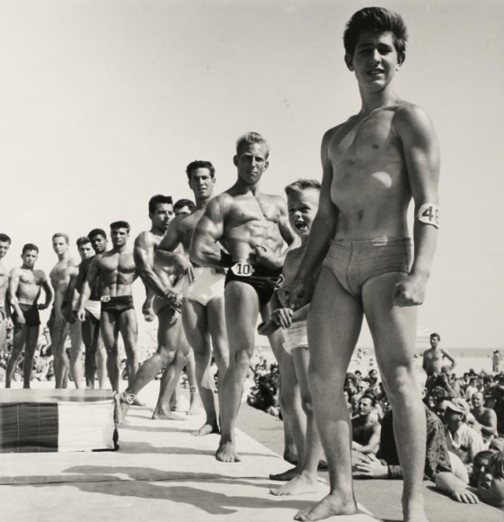 Larry Silver - Contestants, Muscle Beach, Santa Monica, CA, 1954 Gelatin silver print, printed later | Bruce Silverstein Gallery