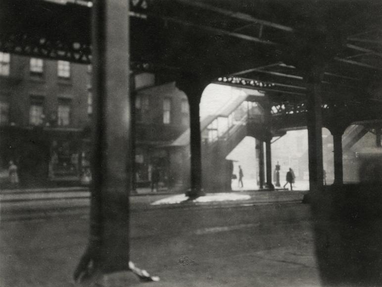 """L"" at Third Avenue, 1921 Gelatin silver print, printed c. 1921 3 1/2 x 4 1/2 inches"