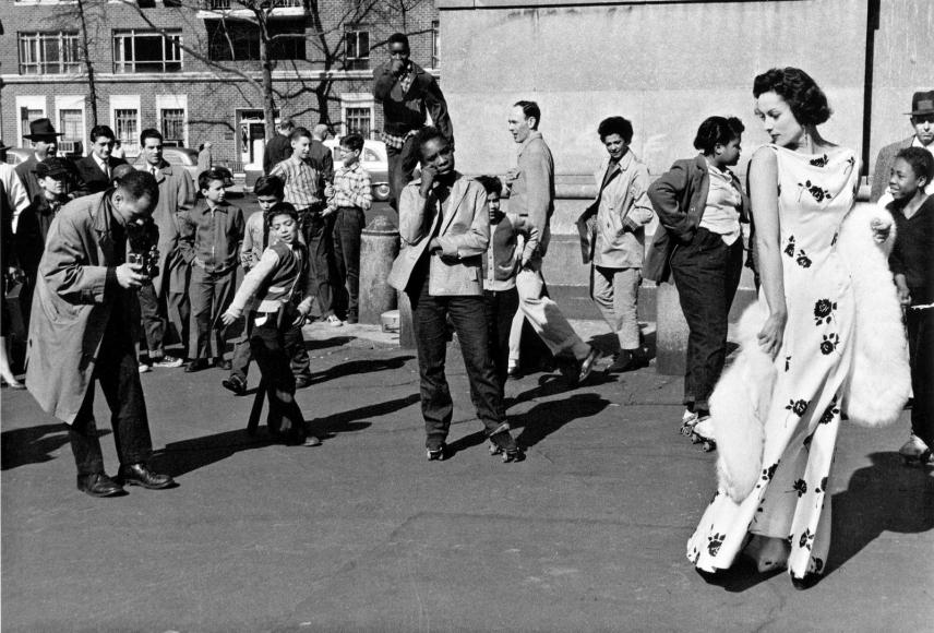 Frank Paulin - Fashion Shoot, Washington Square Park, New York City, 1956 Gelatin silver print mounted to board, printed c. 1956 | Bruce Silverstein Gallery