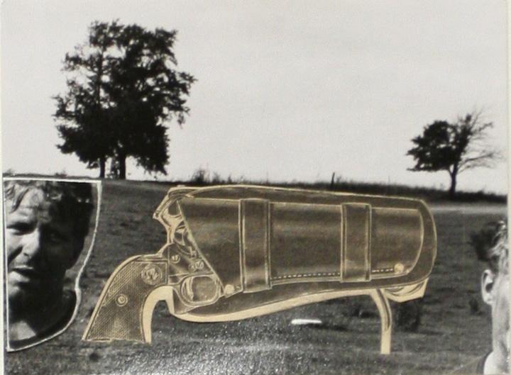 John Wood - Gun in Landscape: Motorcycle Guy, 1965 Gelatin silver photomontage print | Bruce Silverstein Gallery