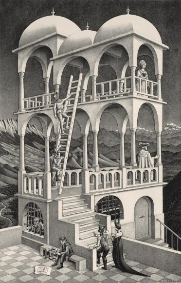 M.C. Escher, Belvedere,May 1958